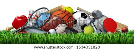 Sports equipment and sport objects with a football basketball baseball soccer tennis and golf ball and badminton hockey puck as recreation and leisure activity for fun with 3D illustration elements.