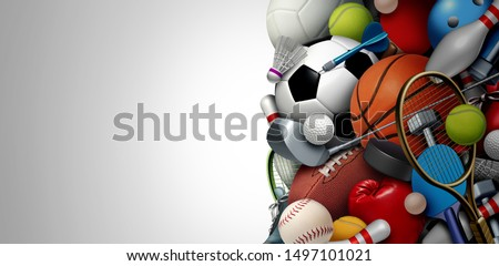 Sports equipment background with a football basketball baseball soccer tennis and golf ball including ping pong tennis hockey puck as recreation including copy space with 3D illustration elements.