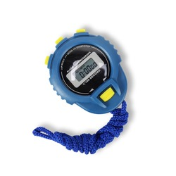 Sports equipment - Blue Digital electronic Stopwatch on a white background. Isolated