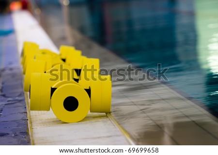 sports equipment for aqua aerobics in the pool