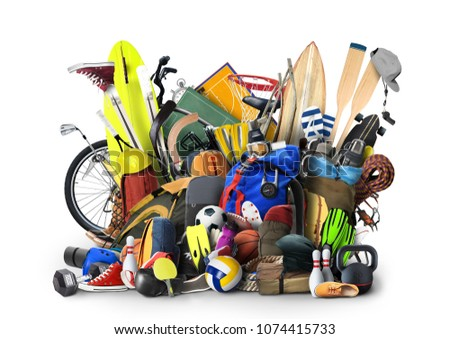 Sports equipment has fallen down in a heap #1074415733