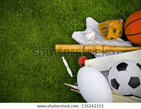 sports equipment on grass, football, rugby, baseball, cricket, basketball #116262151
