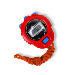 Sports equipment - Red Digital electronic Stopwatch on a white background. Isolated