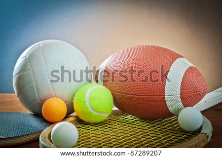 sports equipment. Tennis,rugby,volleyball and ping pong