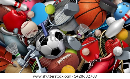 Sports equipment with a football basketball baseball soccer tennis and golf ball including ping pong tennis hockey puck as healthy recreation and leisure fun activities with 3D illustration elements.