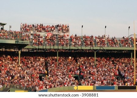 sports fans at red sox baseball game, fenway park