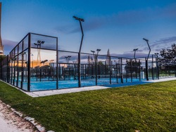 Sports field court to play padel. Blue Hour Sunset