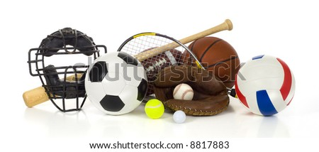 Sports gear or equipment on white background including baseball items, a bat, glove and ball and a catcher\'s mask, an american football, a soccer ball, a volleyball, a tennis racket and ball,