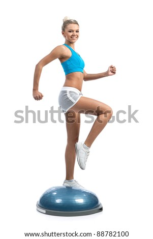 sports girl on bosu trainer