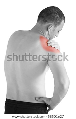 sports injury - young man having neck and shoulder ache making massage