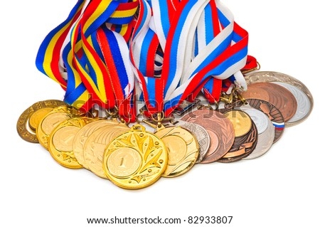 Sports Medal. Isolated on white background - stock photo