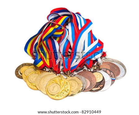 Sports Medal of the Russian Federation. Isolated on white background - stock photo
