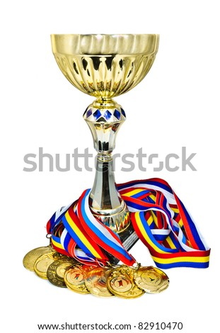 Sports medals and trophy. Isolated on white background