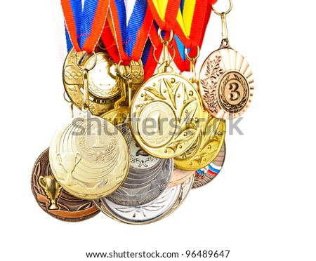 Sports Medals. Photos isolated on white background