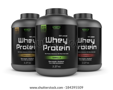Sports nutrition, bodybuilding supplements: three jars of vanilla, chocolate and strawberry flavored whey protein isolated on white background. - stock photo