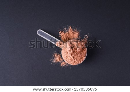 Sports nutrition. Protein powder for cocktails. Copy space #1570535095