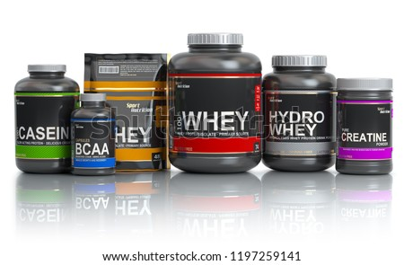 Sports  nutrition (supplements) for bodybuilding. Whey protein casein, bcaa, creatine isolated on white background. 3d illustration Stock photo ©
