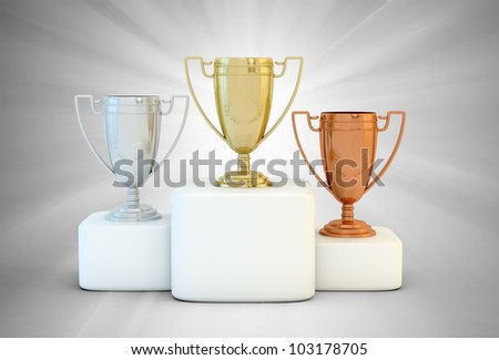 Sports podium for the first, second and third place