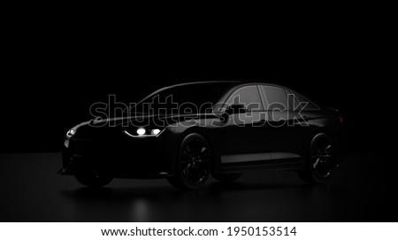 Sports sedan car silhouette, perspective view (non-existent car design, full generic) - 3d illustration, render Сток-фото ©