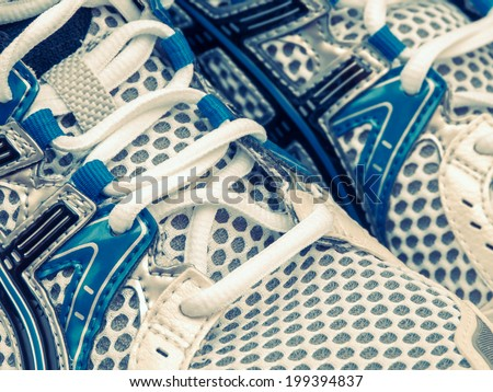 Sports shoes closeup with retro look