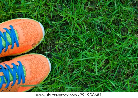 Sports shoes sneakers on fresh green grass. Sports in the open air. top view #291956681