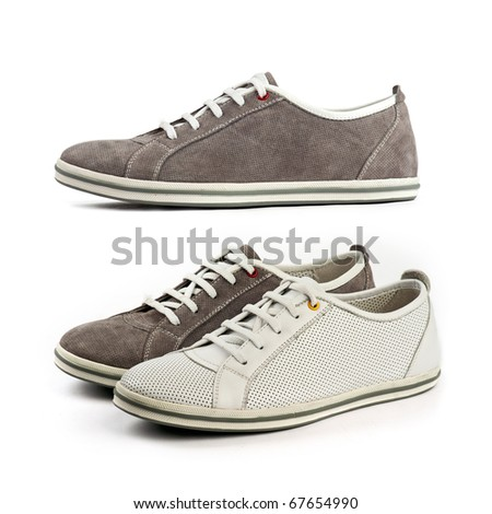 Sports shoes: white and brown shoes (at the bottom) and the same brown shoe, side view (at the top)