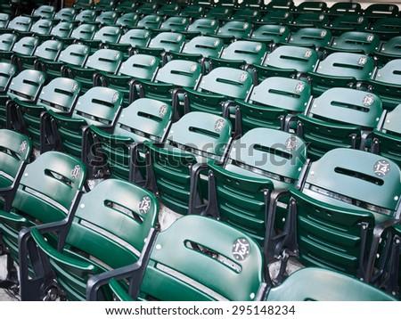 Sports Stadium Seats - Picture of green sports stadium seats at a baseball ballpark venue