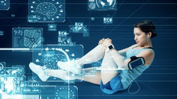 Sports technology concept. Sports tech. Wearable computing. Health care technology.