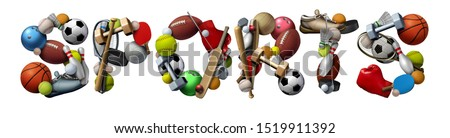 Sports text made with sport objects and fitness equipment with a football basketball baseball soccer tennis and golf ball and hockey puck as recreation and leisure with 3D illustration elements.