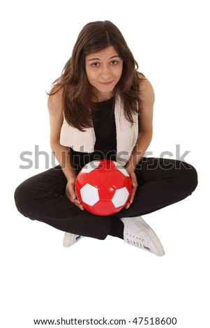 Sports woman training football