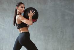 Sports Woman Training In Fashion Black Sportswear