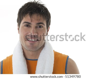 Sportsman holding towel