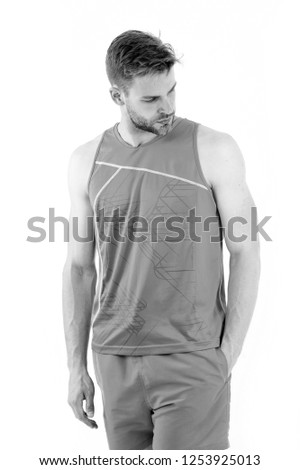 sportsman. muscular sportsman in sport wear. sport fashion for handsome athletic sportsman. stylish sportsman isolated on white. taking a minute break