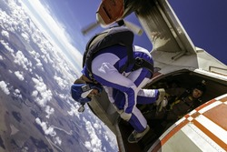 Sportsman skydiver in free style.
