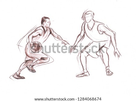 Sportsmen in basketball - hand made drawn pastel pencil graphic artistic illustration on paper