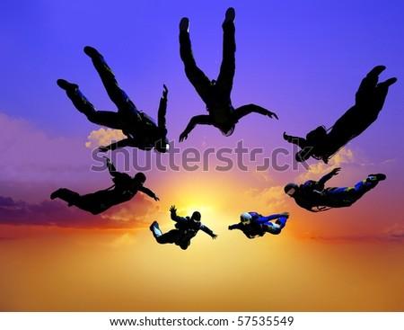 Sportsmen-parashutist soaring in sky - stock photo