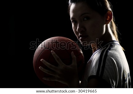 sporty asian girl in a portrait shoot