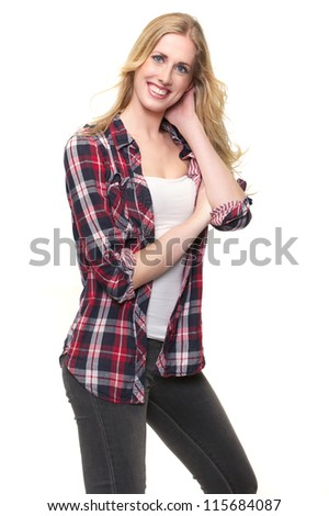 Sporty blond woman isolated on white background