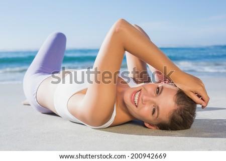 royalty free beach lying woman tanning sleeping in