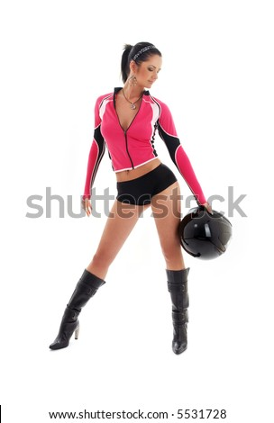 sporty brunette biker girl with black helmet