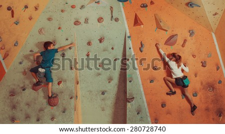 sporty children climbing...