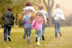Sporty children running in the park