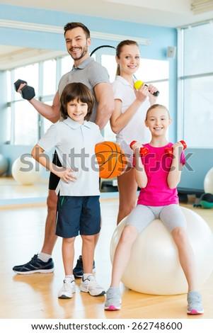 sporty family. happy family...