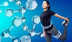 Sporty girl posing among glassy molecules. Good metabolism concept. Over blue background.