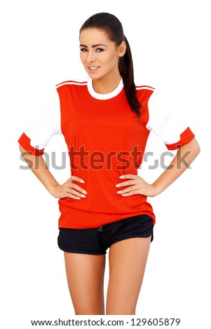 Sporty girl wearing red football t shirt stock photo for Soccer girl problems t shirts