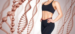 Sporty girl with slim belly posing among DNA stems. Good metabolism concept. Over beige background.