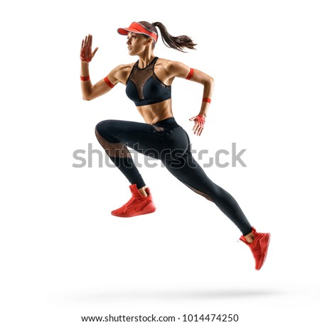 Sporty runner girl in silhouette on white background. Dynamic movement. Side view