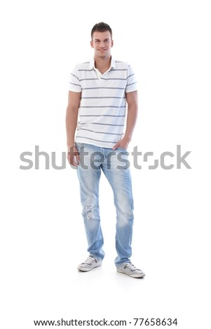 Sporty student smiling in jeans and t-shirt.?