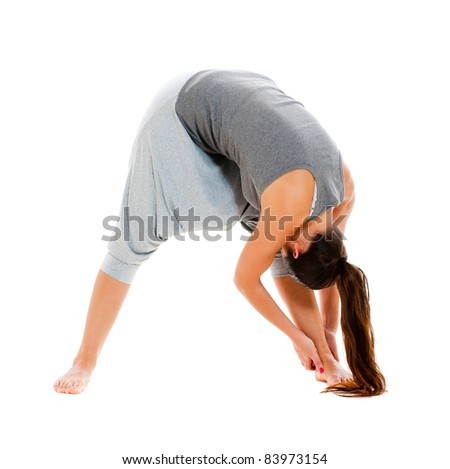 sporty woman doing flexibility exercise. isolated on white background