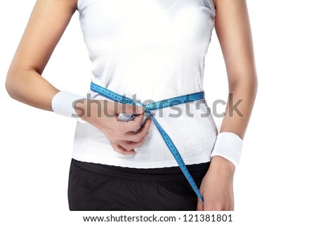sporty woman figure with blue tapemeasure .
